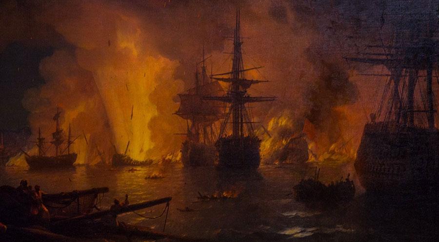Чесменское сражение - картина Айвазовского