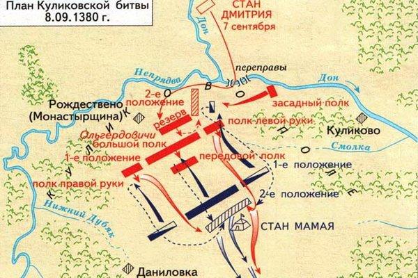 карта куликовской битвой