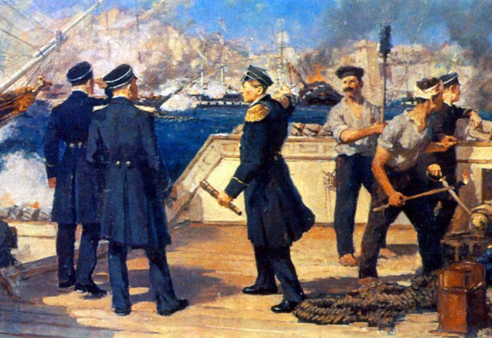 Нахимов во время Синопского сражения