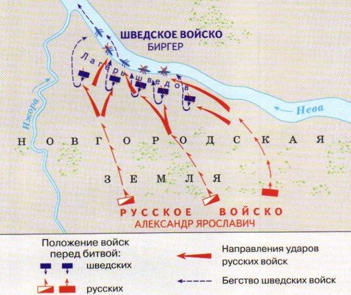 Карта невской битвы