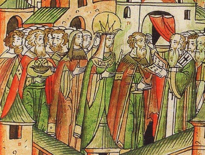 Василий 3 и елена Глинская, Миниатюра 16 век